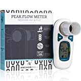 Digital Peak Flow Meter for Asthma and COPD Lung Performance Measure Peak Expiratory Flow (PEF) and Forced Expiratory Volume in 1-second (FEV1)