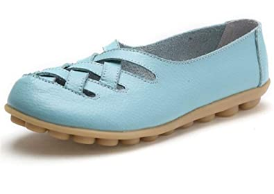 d9bd9690e0082 Women's Casual Leather Loafers Driving Moccasins Flats Shoes Boat Shoes(Aqua  Blue 34/3