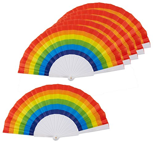 Juvale Rainbow Fans - Pack of 6 - Rainbow Party Supplies - Ideal for Rainbow-Themed Parties and LGBT or Gay Pride Events, 9.25 x 1.25 x 0.75 Inches