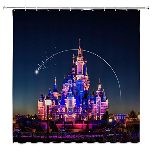 Feierman Dream Castle Shower Curtain Decor Colorful Beautiful Night Playground Bathroom Curtain Decor Machine Washable Waterproof Fabric Bathroom Decor Set with Hooks 70x70Inches