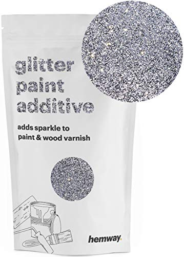 Hemway (SIlver) Glitter Paint Additive Crystals 100g/3.5oz for Acrylic Latex Emulsion Paint - Interior Exterior Wall, Ceiling, Wood, Varnish, Dead flat, Matte, Gloss, Satin, Silk