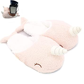 848e3faad 1Pair Narwhal Warm Cotton Slippers Adorable Plush Slippers Warm Winter  Indoor Slippers Cartoon Non-slip House Shoes For Girls (Free Size):  Amazon.co.uk: ...