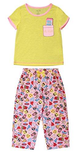 Girls Sleepwear Short Sleeve Ringer Tee & Capri Pants Pajama Set (XS (4/5), Sunshine (Yellow Kids Ringer T-shirt)