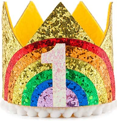 3rd Coucoland 1st Birthday Crown Headband Glitter Rainbow Crown Hat for Baby Girl Boy Infant Photo Shoots Accessories