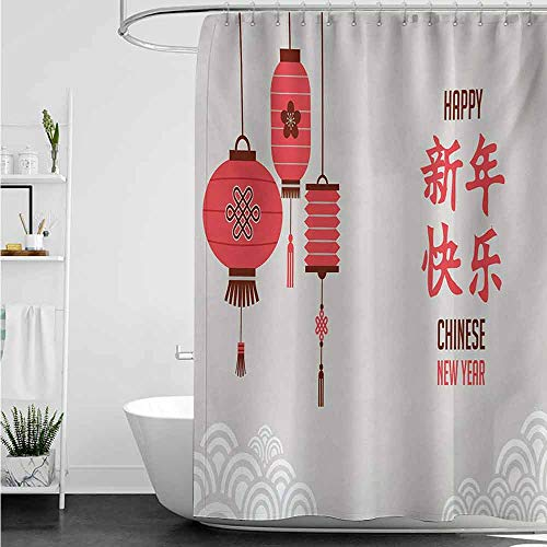 Happy Halloween In Kanji (SKDSArts Shower Curtains Lilac Chinese New Year,Calligraphy Lettering in Kanji with Oriental Lanterns and Circle Motifs,Multicolor,W69 x L72 Happy Halloween Shower)