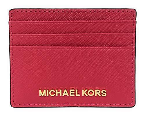 Michael Kors Jet Set Travel Large Saffiano Leather Card Holder (Rubin Red)