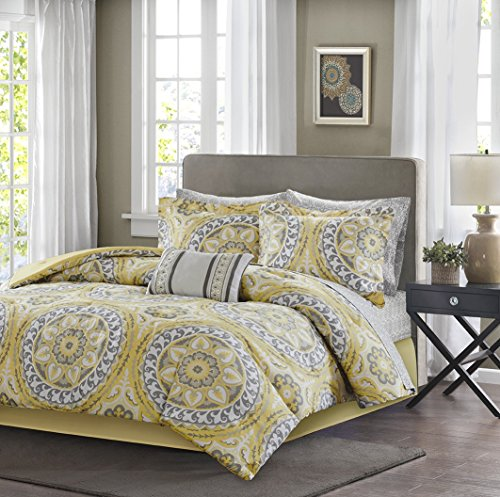 9 Piece Yellow Medallion Comforter King Set, Beautiful All Over Bohemian Boho Chic Bedding, Multi Floral Paisley Mandala Motif Themed, Damask Flower Pattern Design, Grey Golden Light Gray (Yellow Paisley Bedding)