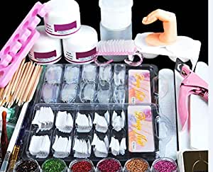 COSCELIA Manicure Acrylic Nail Kit Nail Tips False Nails Nail Art Glitter Decoration Set