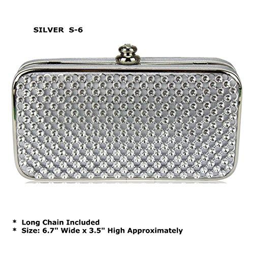 TrendStar - Cartera de mano de Satin para mujer Plata plata Small Plata - Silver S-12