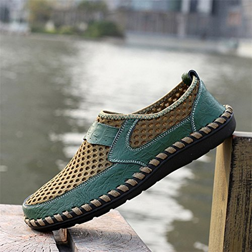 Green Shoes Shoes gracosy and Loafers Walking Durable Mesh Breathable Shoes Hiking Slip Summer Leather Men's Soft Comfortable with Casual Genuine Mesh on Lightweight Fashional wgxwqOAC