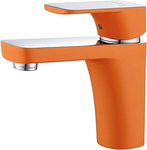 Orange Bathroom Sink Faucet Single Handle Water Save Brass Basin Mixer – Nickel Chrome Finish DA1432113