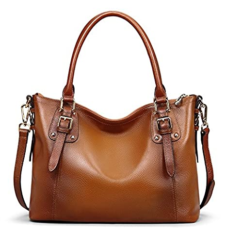 Jack&Chris Ladies Handbags and Purses Tote Bag for Women Leather Shoulder Bag, WBDZ8008 (Brown-Small)