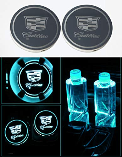 Auto sport 2PCS LED Cup Holder Mat Pad Coaster with USB Rechargeable Interior Decoration Light for Cadillac Accessory