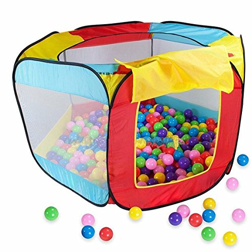 Folding Ball (Pop-up Kids Ball tent, Easy Folding Ball Hut, Kid Play House Ball Pool, 11x50x29 inch Ball Pit, Indoor Outdoor Ball Hut Hideaway Tent, Play Hut with Zippered Storage Bag (Balls)