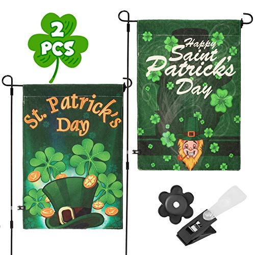 Whaline 2 Pack St. Patrick Garden Flag Double-Sided Irish Green Shamrocks House Flag, Decorative Clover Indoor Outdoor Home Flag for Happy St Patricks Day Garden Decoration, 12 x 18 Inch