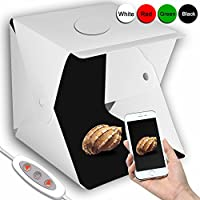 Innens 17 Inch Folding Portable Photography Studio Shooting Tents, Newest Upgraded LED Photo Shooting Box with 4 Colors Backdrops (White Black Red Green) (17x16.2x16 Inch With Top Hole)