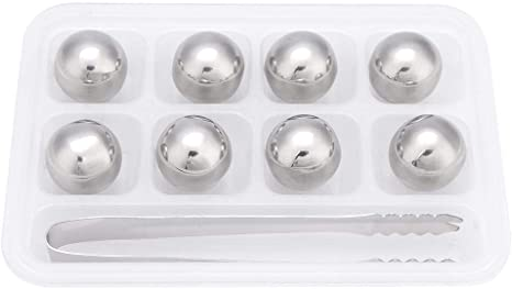 Stainless Steel Ice Spheres Chills Wine Whiskey Drink Chiller Stones Rocks with Tong Ball