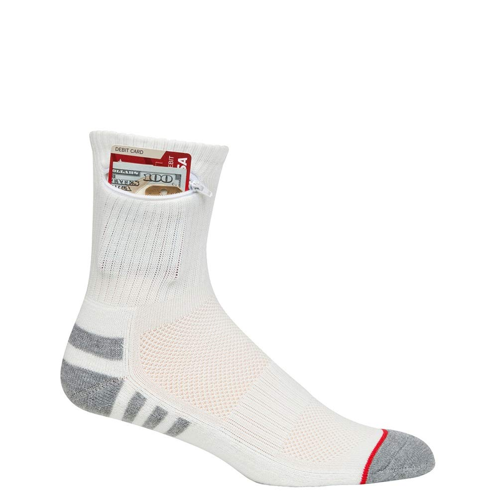 Pocket Socks Men's Athletic Travel Ankle Socks with Hidden Zip Security Pocket for ID, Key or Cash Money, One Size Fits Most (White, 1) by Pocket Socks