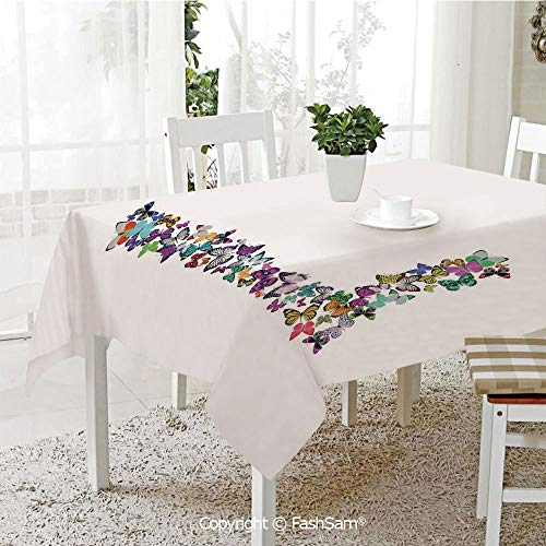 AmaUncle Premium Waterproof Table Cover L Letter Alphabet Animal Themed Color Palette Image Font Design Decorative Resistant Table Toppers (W60 xL84)