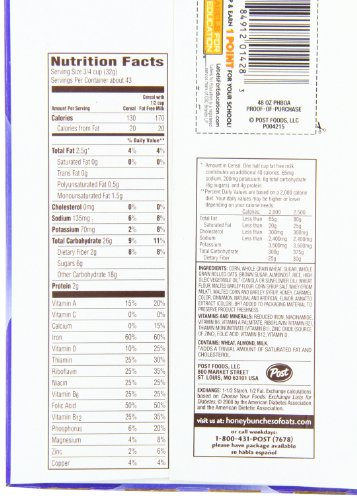 Honey Bunches Of Oats With Almonds Nutrition Facts 34490 | MEGAZIP