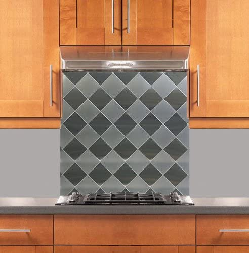 Amazon Com Diamond 6 Two Tone Stainless Steel Backsplash Various Sizes Hemmed Edge 24 X 30 Home Kitchen