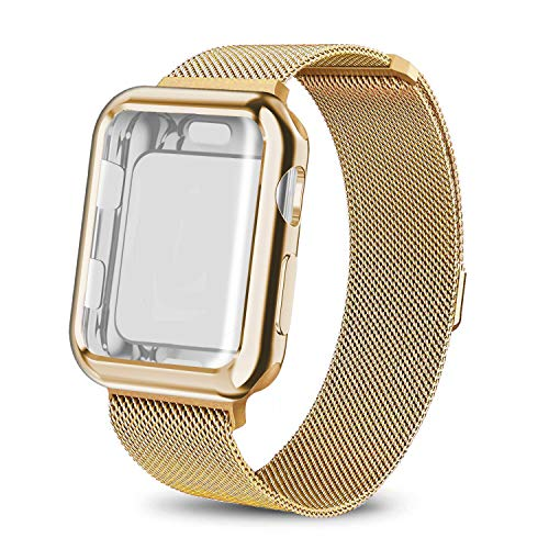 AdMaster Compatible for Apple Watch Band 38mm, Stainless Steel Mesh Milanese Sport Wristband Loop with Apple Watch Screen Protector Compatible for iWatch Series 1/2/3 Yellow Gold