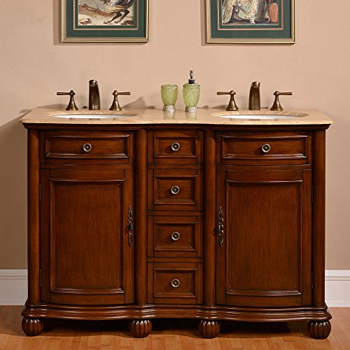 Silkroad Exclusive Countertop Travertine Double Sink Bathroom Vanity with Cabinet, 52-Inch by Silkroad Exclusive