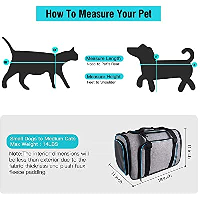 Siivton 4 Sides Expandable Pet Carrier, Airline Approved Soft-Sided Dog Cat Carrier Bag with Fleece Pad for Cats, Puppy…