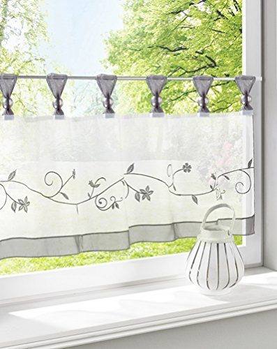 (ZebraSmile Embroidered Window Tier Curtain Tier Semi Sheer Curtain Window Treatment Tab Top Voile Window Curtain Tier Half Window Curtains for Kitchen Bathroom Living Room Cafe Curtain 18X35.5In)