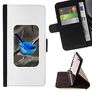 - Queen Pattern FOR Samsung Galaxy S4 IV I9500 /La identificaci????n del cr????dito ranuras para tarjetas tir????n de la caja Cartera de cuero cubie - bird blue minimalist songbir