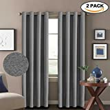 H.Versailtex Window Treatment Grey Curtains (2 Panels) Room Darkening Thermal Insulated Textured Rich Linen Extra Long Drapes & Panels,Antique Grommet,52 by 108 - Inch