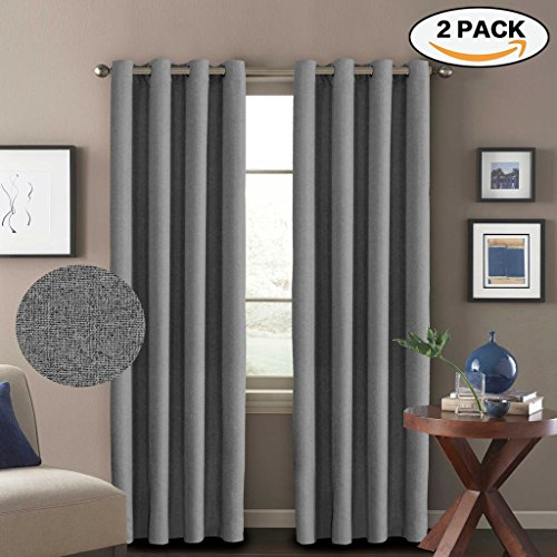 H.Versailtex Window Treatment Grey Curtains (2 Panels) Room Darkening Thermal Insulated Textured Rich Linen Extra Long Drapes & Panels,Antique Grommet,52 by 108 - Inch (Long 108 Drapes)