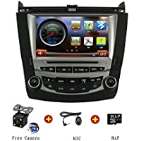For 2003-2007 Honda Accord Double AC HD Touchscreen Car Radio Stereo GPS Navigation System DVD Player with iPod BT Steering Wheel Control Free GPS Map Card