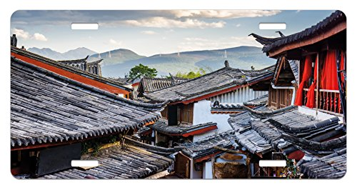 Ancient China License Plate by Lunarable, Roofs of the Houses Ancient Chinese Tiles Scenic View in the Touristic Town, High Gloss Aluminum Novelty Plate, 5.88 L X 11.88 W Inches, Multicolor ()