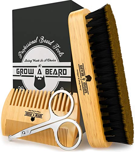 Beard Brush, Comb, Scissors Grooming Kit for Men's Care, Gift Box & Travel Bag, Great Bamboo Set to Distribute Balm or Oil for Growth, Styling, Shine & Softness, Perfect Present for Dad & Husband