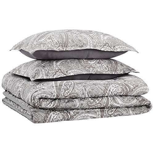 AmazonBasics Easy-Wash Microfiber Comforter Set - Full or Queen, Grey Paisley - Paisley Comforter Sets