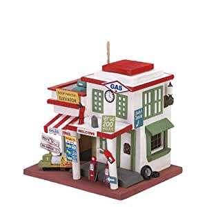 Gifts & Decor Gas Station Bird House Vintage Look Hanging Bird House