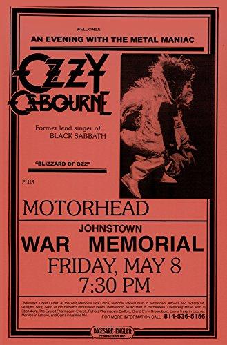 Black Sabbath Ozzy Osbourne with Motorhead Live 1981 Retro Art Print - Poster Size - Print of Retro Concert Poster - Features Tony Iommi, Geezer Butler and Ozzy - Concert Retro Poster