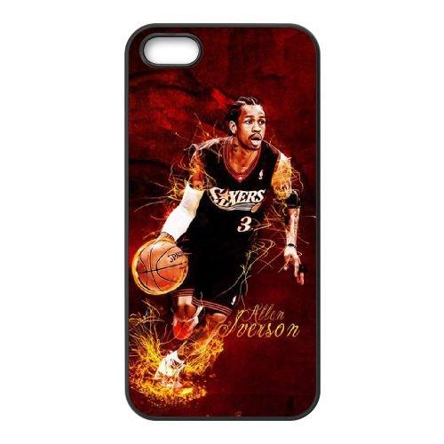 Allen Iverson coque iPhone 5 5S cellulaire cas coque de téléphone cas téléphone cellulaire noir couvercle EOKXLLNCD21546