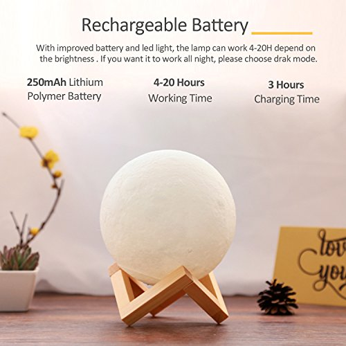 ACED 3D Printing 4.7Inch Moon Light Lamp Baby Night Light, Dimmable Color Changing, Touch Sensor Battery Operated LED Table Lamps Bedside for Bedrooms, Cool Christmas Gifts for Kids Teens by ACED (Image #4)