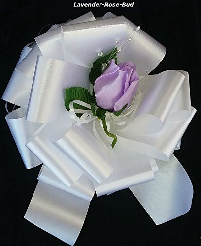 Buds Bow (6 DIY Easy Assembly Pew Bows Kits - Each Includes an 8-inch florist Satin Ribbon Pull Bow, a Lavender Rose Bud and a Spool of 6-inch wide X 25-feet Long Tulle.)