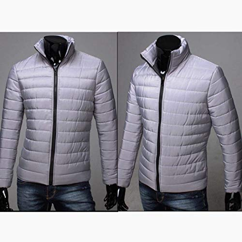 Grau Coat Long Apparel NEN Quilted Men Jacket Zipper Winter Coat Cotton Slim Jacket Sleeve Men's Fit Nener Warm Thicker Thick Stand EqwRR4