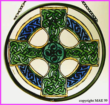 Decorative Hand Painted Stained Glass Window Sun Catcher/Roundel in a Celtic Cross -