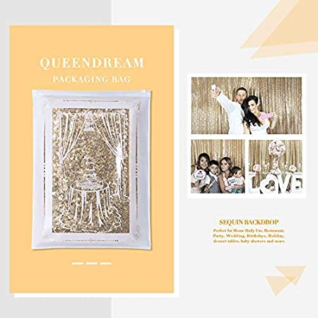 QueenDream 4ftx7ft Gold Sequin Glitter Backdrop Sparkly for Wedding Party Christmas Photo Photography Background