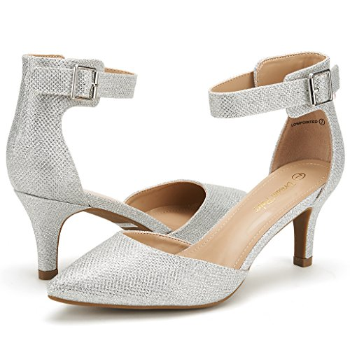 DREAM PAIRS LOWPOINTED NEW Women's Evening Dress Low Heel Ankle Strap D'orsay Pointed Toe Wedding Pumps Shoes Silver Glitter Size 7