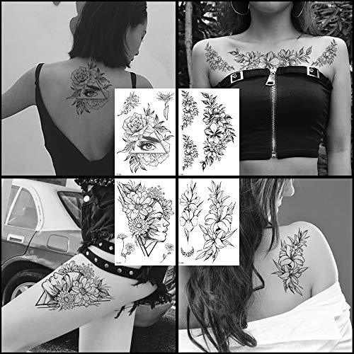 Oottati Sketch Women Black Flower Temporary Tattoos Kit - 4 Sheets - Body Art Chest Arm Thigh for Party Supplies Beach Pool Party Favor Decor Dress up Costume