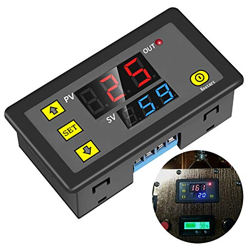 - ICStation Timer Relay DC 12V 10A Programmable Digital Time Cycle Delay Switch Module 1500W 220V 110V ON-Off Control 0-999 Second Min Hour LED Display