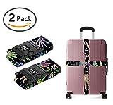YEAHSPACE Marijuana Weed Leaf 2-PC Set Adjustable Travel Luggage Straps Suitcase Strap Belts 3 Digit TSA Lock
