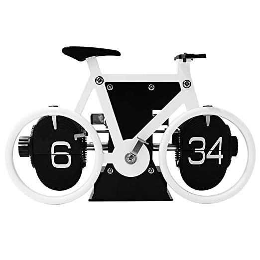 JJZST Estilo Retro de Bicicletas en Forma de tirón Abajo registra, clásica mecánica Reloj de Escritorio, Pantalla Digital con Pilas for la decoración de hogar y Oficina (Color : E): Amazon.es: Hogar