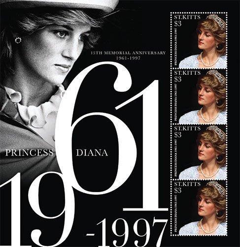Princess Diana Sheet (Imperial Mint St. Kitts 2012 Princess Diana 15th Memorial Anniversary Stamp Sheet of 4)